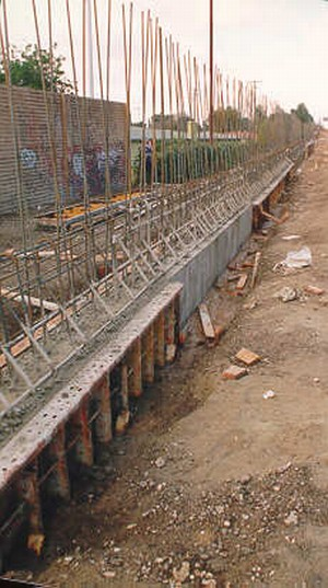 Photo Of A Noise Barrier Foundation Under Construction