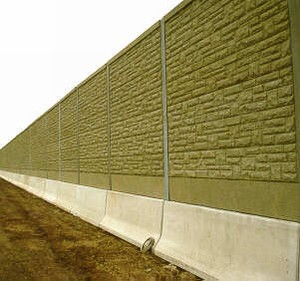 Photo Of A Pre Cast Concrete Noise Barrier With A Form Lined Brick Surface