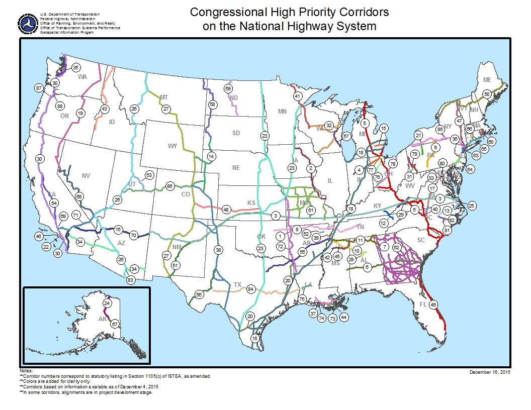 map of high priority corridors in the u s click for text equivalent