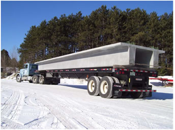 Photo of Precast Concrete Girder Unit is transported to the site.
