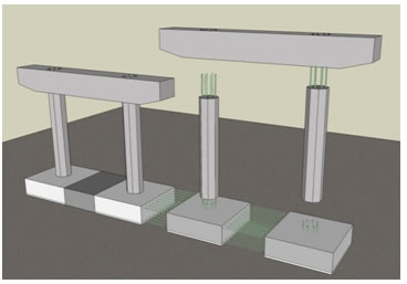Precast spread footings;prebabricated columns;Prefabricated column caps