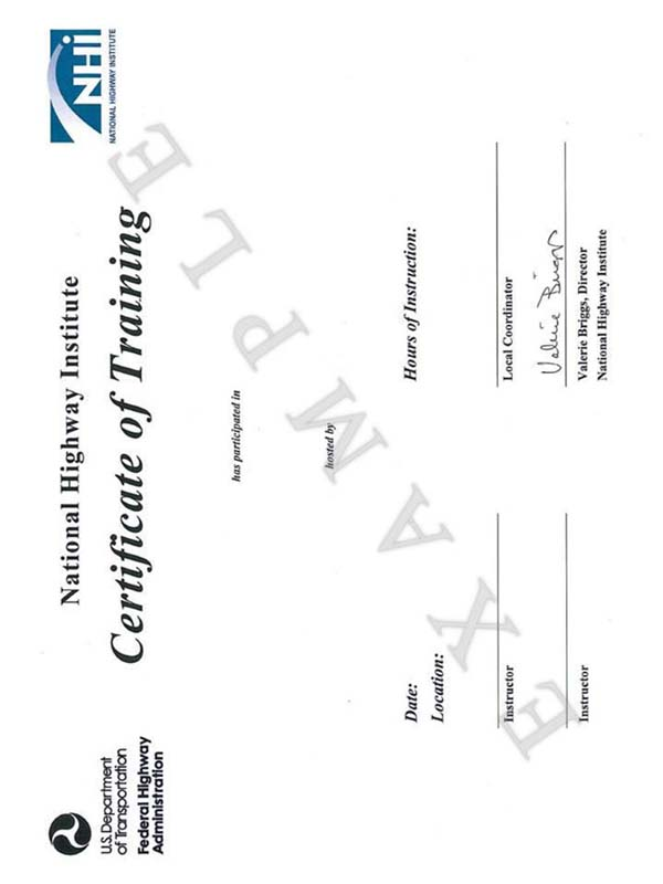 Sample Certificate of Training