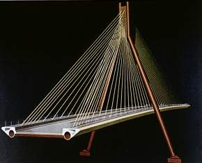 schematic of proposed cable-stayed bridge in San Diego, California