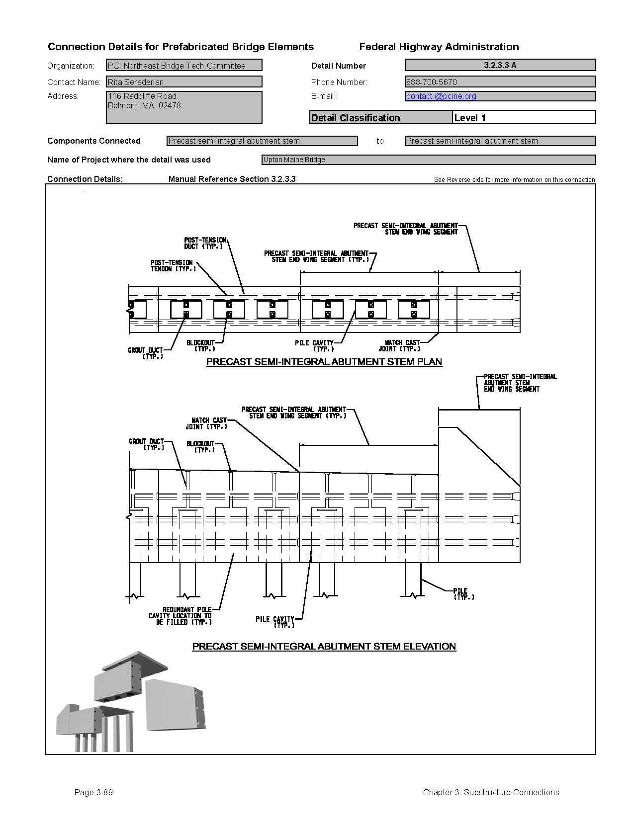 Chapter 3 substructure connections connection details for pbes this data sheet shows the connection between a precast semi integral abutment stem and precast ccuart Choice Image