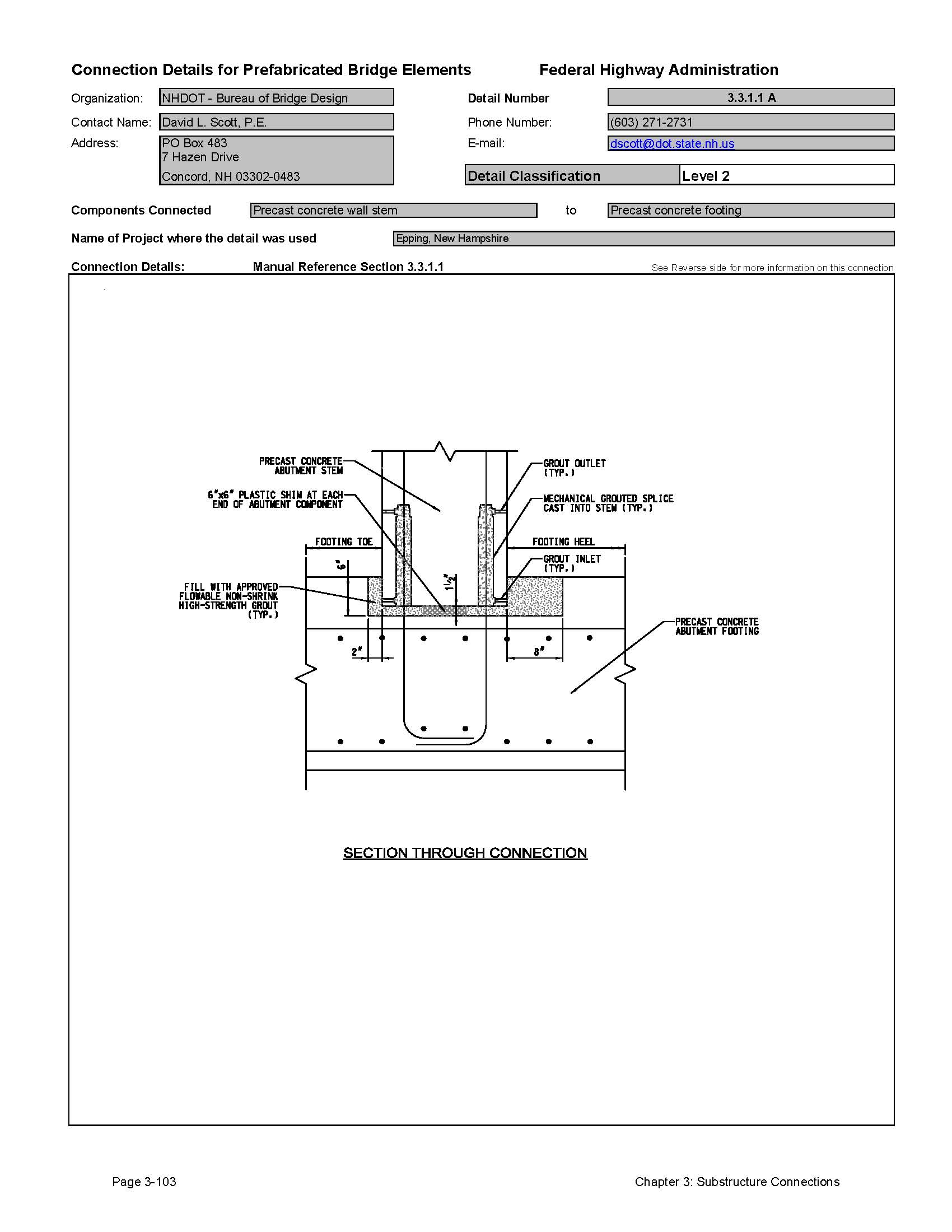 this data sheet shows the connection between a precast concrete wall stem and precast concrete footing - Block Retaining Wall Design Manual