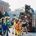 Koshare Dancers in a Parade on Santa Fe Trail