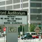 Ford Auditorium Marquee Sign Welcomes the World