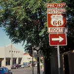 Historic Route 66 Roadsign in Santa Fe