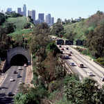 Figueroa Tunnels and Los Angeles Skyline on the Arroyo Seco Historic Parkway