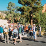 Hiking Group Gathers at the Red Canyon Visitor Center