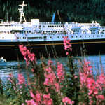 Alaska State Ferry With Fireweed