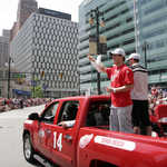 Detroit Red Wings Wave to Fans