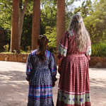 Cherokee Matriarch and Child at the Columns of the Original Cherokee Female Seminary