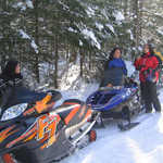 Group of Snowmobilers in Northern Illinois