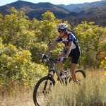 Mountain Biker Speeding along Lower Payson Canyon Trails