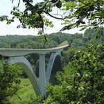 Natchez Trace Parkway Bridge through Trees in Summer