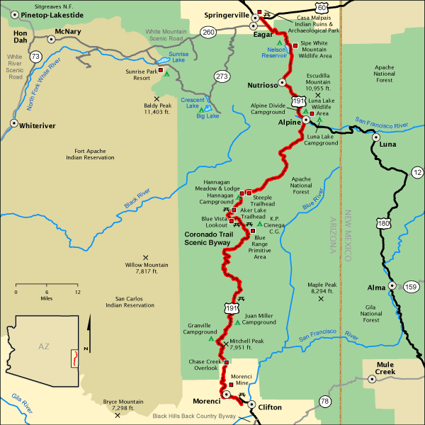 Travel Map Of Arizona.Coronado Trail Scenic Byway Map America S Byways
