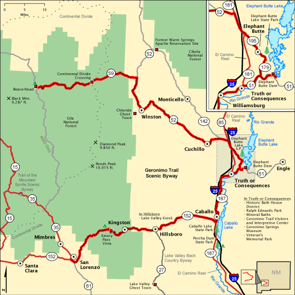 Geronimo Trail Scenic Byway Map America 39 S Byways