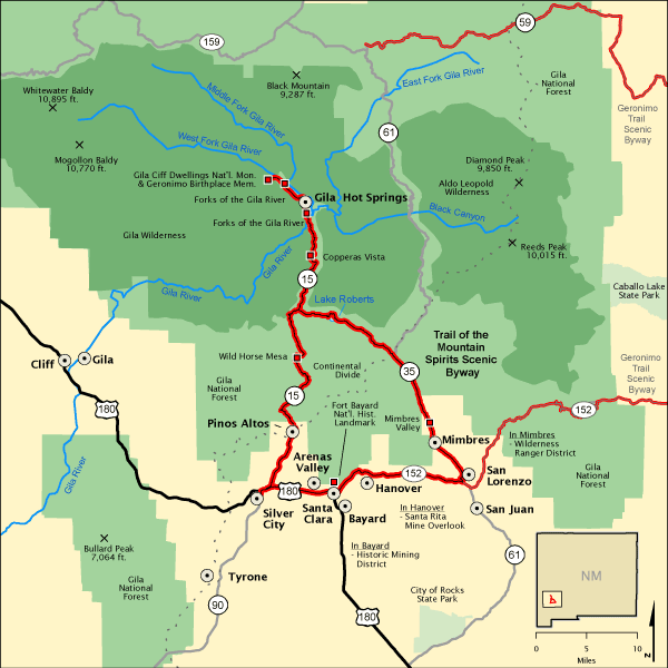 Trail Of The Mountain Spirits Scenic Byway Map America