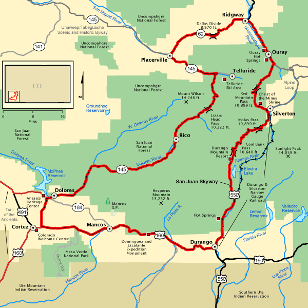 San Juan Skyway - Map | America\'s Byways