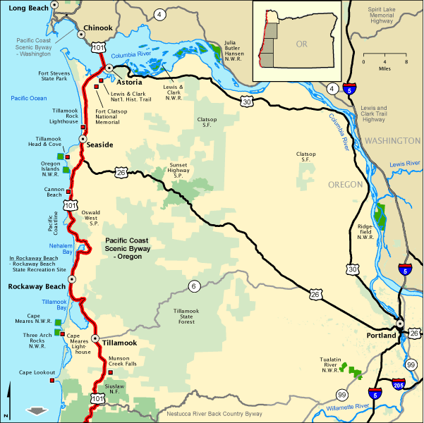 Pacific Coast Scenic Byway  Oregon  Upper Northern