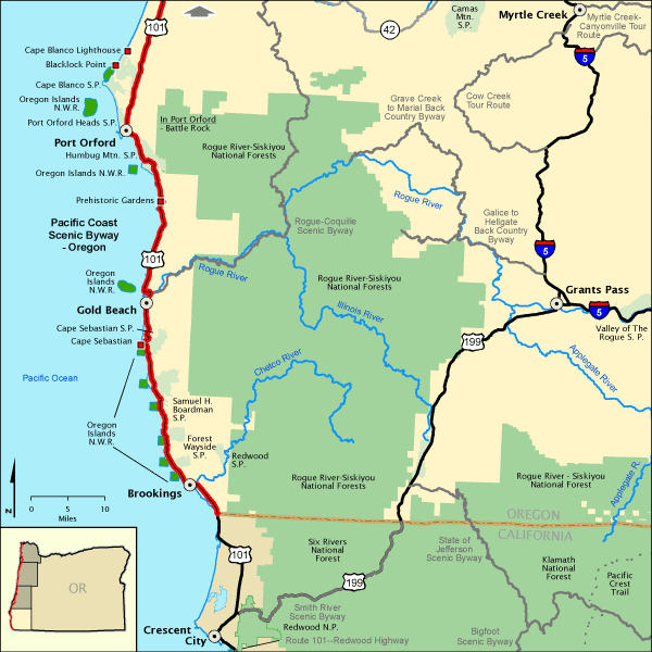 Map Of America Oregon.Pacific Coast Scenic Byway Oregon Lower Southern Section