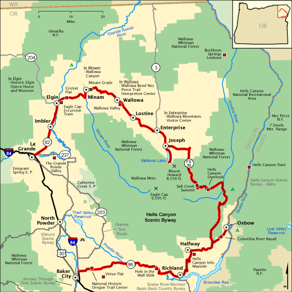 s Canyon Scenic Byway - Map | America's Byways on a physical map of oregon, park map of oregon, highway map of oregon, a political map of oregon, river map of oregon, street map of oregon, rail map of oregon, airport map of oregon,