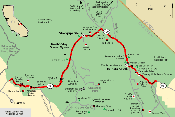 Death Valley Scenic Byway Map America S Byways