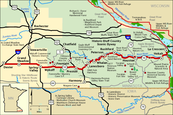 Historic Bluff Country Scenic Byway Map America 39 S Byways