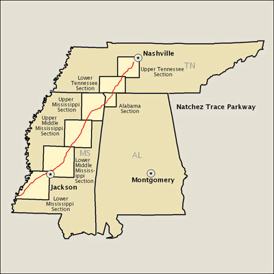 Natchez Trace Map Natchez Trace Parkway   Map | America's Byways Natchez Trace Map