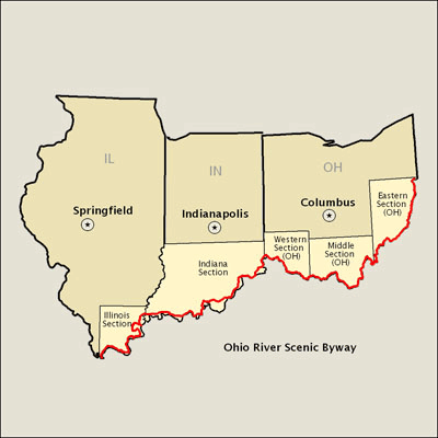 Ohio River Scenic Byway Map Americas Byways - Ohio river map
