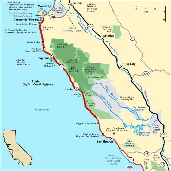 Map Of Big Sur Route 1   Big Sur Coast Highway   Map | America's Byways