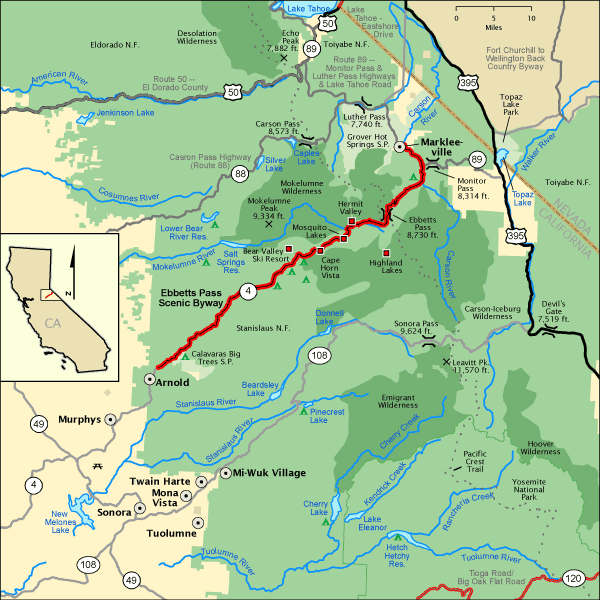 Ebbetts Pass Scenic Byway Map America 39 S Byways