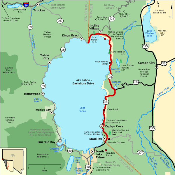Lake Tahoe - Easts Drive - Map | America's Byways on squaw valley map, lake berryessa map, lake winnebago map, lake toho map, virginia city map, salt lake map, grand canyon map, truckee river map, lake taho, lopez lake map, united states map, rocky mountains map, california map, carson city map, san bernardino mountains map, pyramid lake map, lakes in arizona map, los angeles map, mammoth lakes map, nevada map,