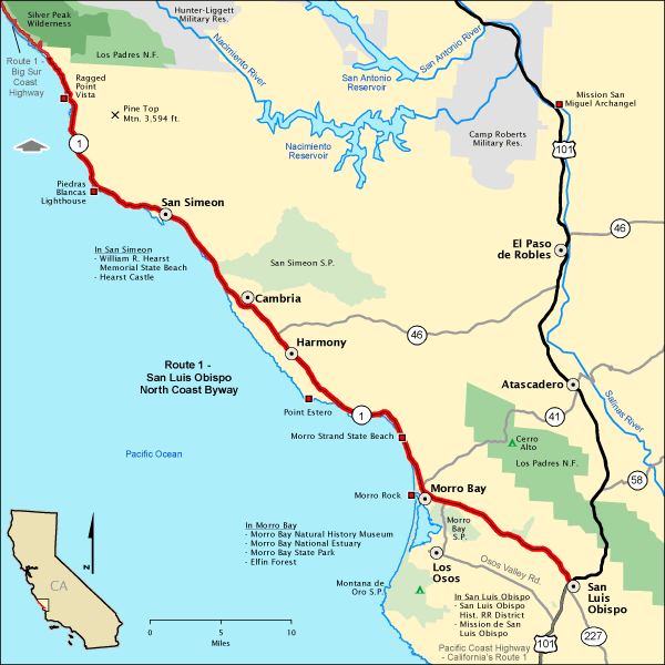 Route San Luis Obispo North Coast Byway Map Americas Byways - Map of california coast