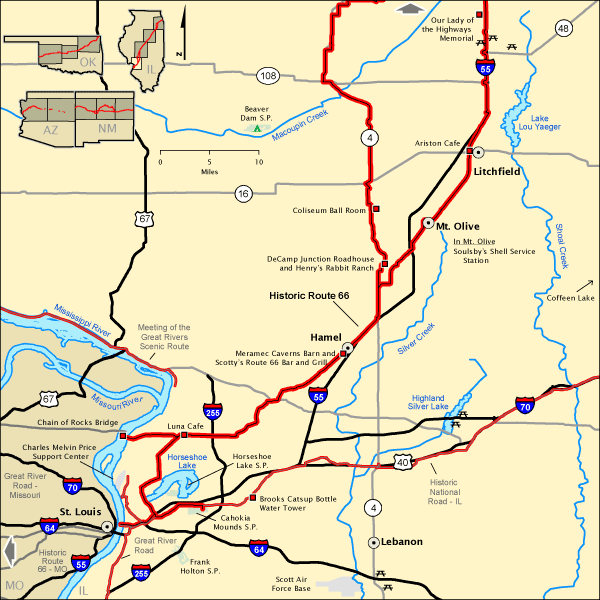 Route 66 Illinois Map Related Keywords Amp Suggestions