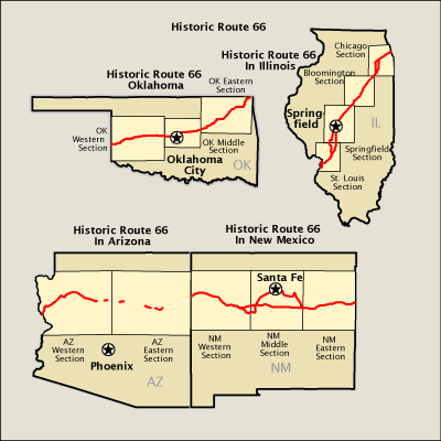 Route 66 Usa Map.Historic Route 66 Map America S Byways