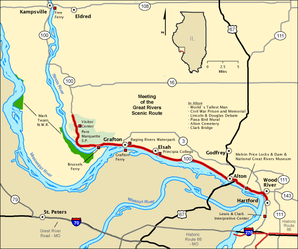 Meeting of the Great Rivers Scenic Route - Map | America\'s Byways