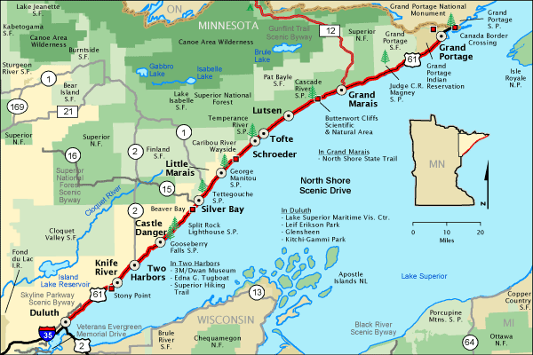 North Shore Scenic Drive Map Americas Byways - Road map of minnesota