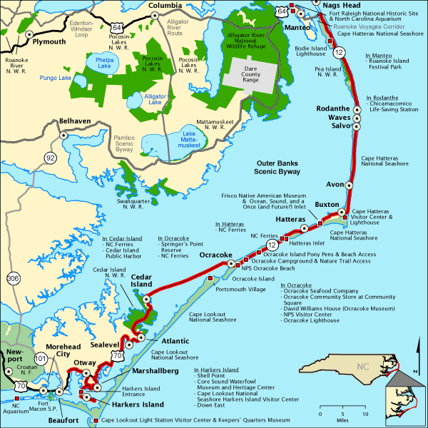 Outer Banks Scenic Byway Map Americas Byways