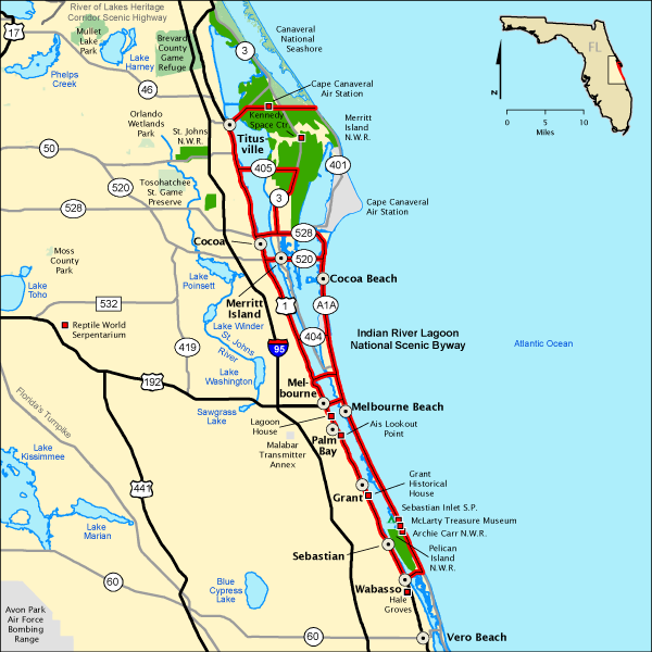 Indian River Florida Map.Indian River Lagoon National Scenic Byway Map America S Byways