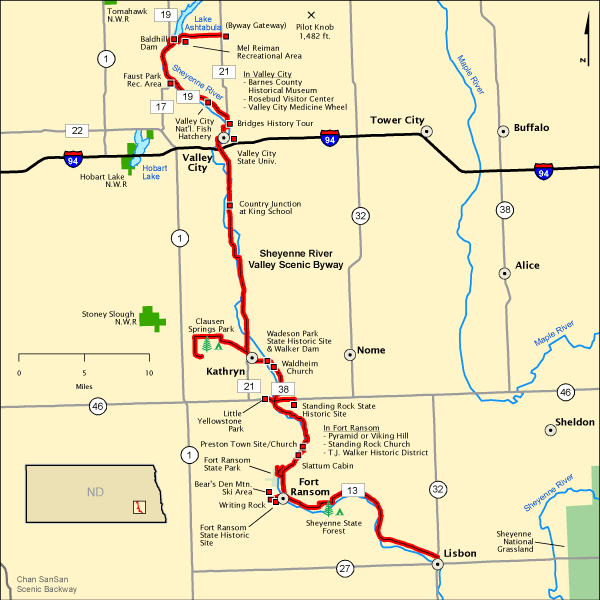 Sheyenne River Valley Scenic Byway Map Americas Byways - North dakota rivers map