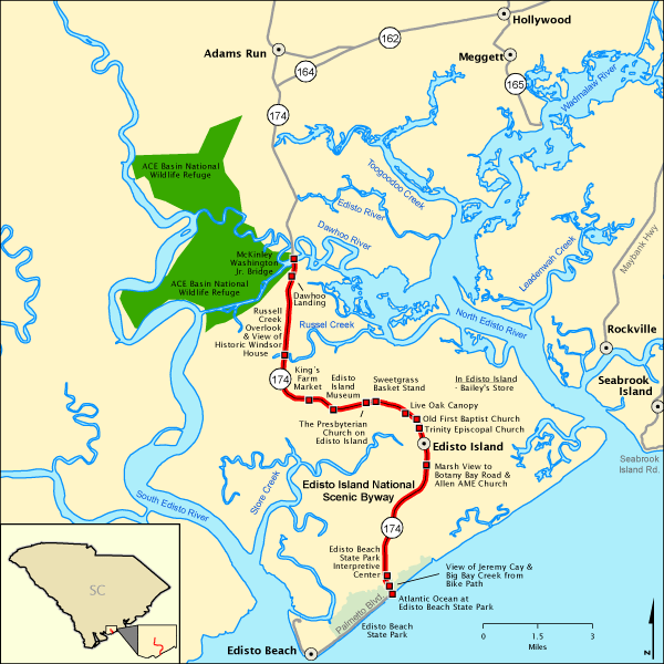 South Carolina Map Islands.Edisto Island National Scenic Byway Map America S Byways