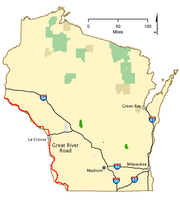 Wisconsin Map America 39 S Byways