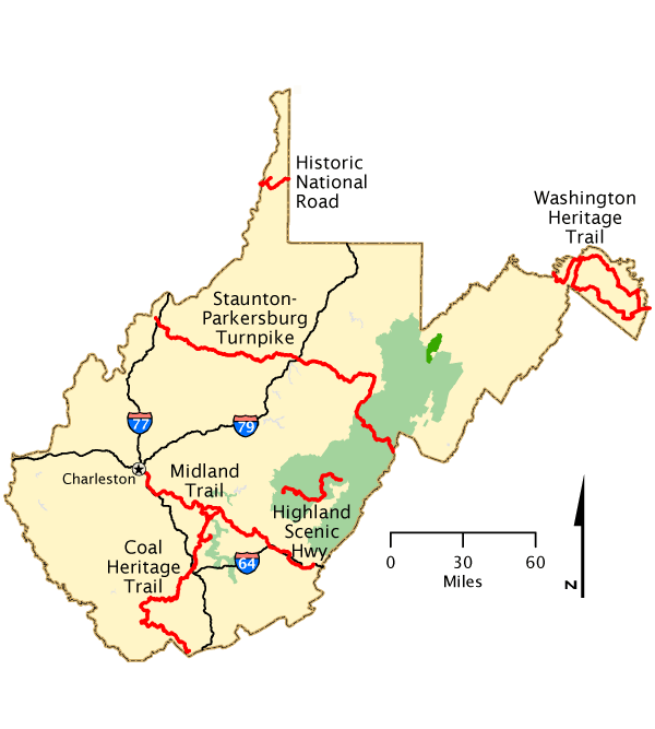 West Virginia Map America S Byways