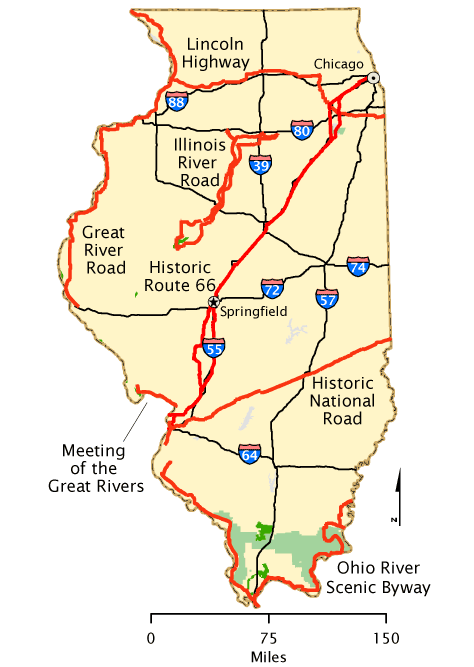 Illinois Map America S Byways