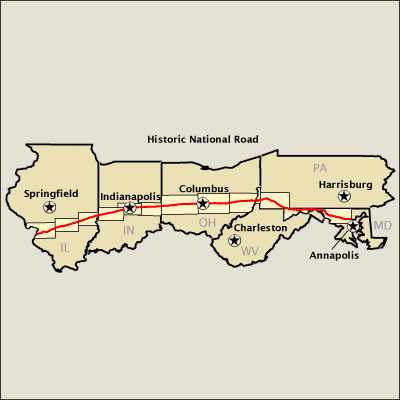 Historic National Road Map Americas Byways - Ohio roadmap