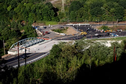 Overhead view of the bridge near completion, with the existing bridge still in place.  The new bridge is wider and the alignment smoother to provide for a better flow of traffic.