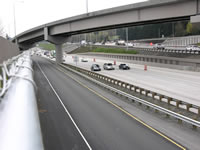 Photo showing the fly-over structure and ramps for direct-access HOV lanes.
