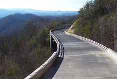 Photo showing the bridge as it curves along the hillside.